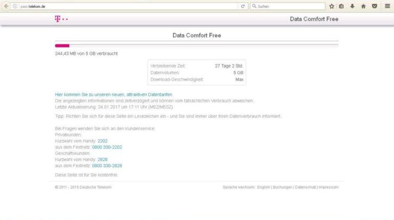 pass.telekom.de mit Informnationen zum Datenverbrauch und Restlaufzeit